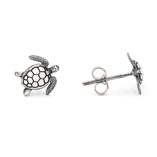 Handcrafted Sterling Silver Sea Turtle Stud Earrings