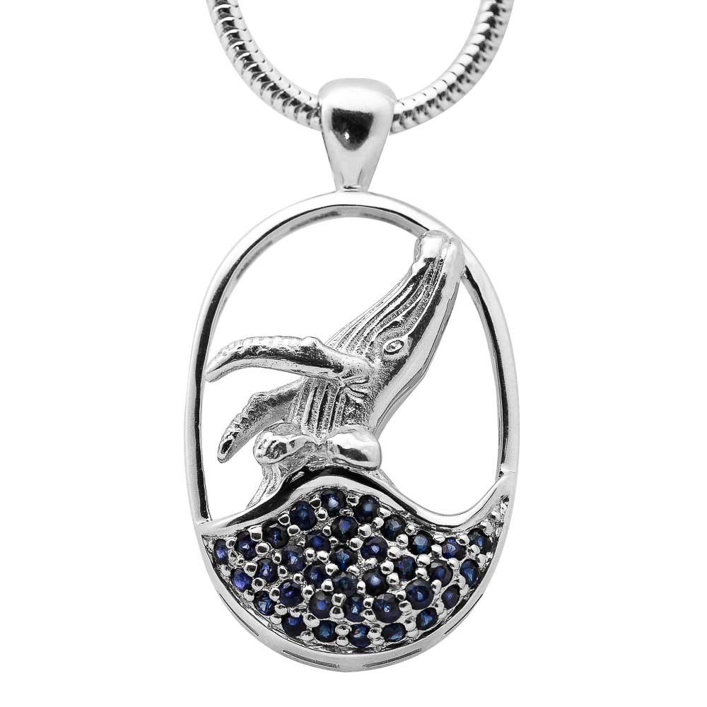 Sterling Silver Breaching Humpback Whale Pendant Necklace