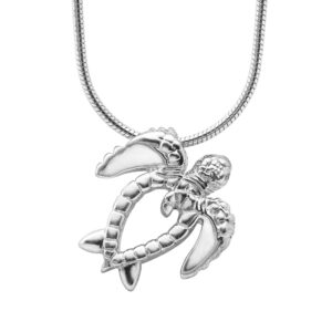 Unique Sterling Silver Honu Sea Turtle Pendant Necklace
