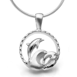 Sterling Silver Playful Dolphin Ocean Necklace by World Treasure
