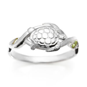 Sea Turtle Ring Sterling Silver and Peridot by World Treasure