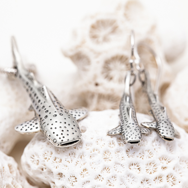 Silver Whale Shark Earrings and Necklace set by World Treasure Designs