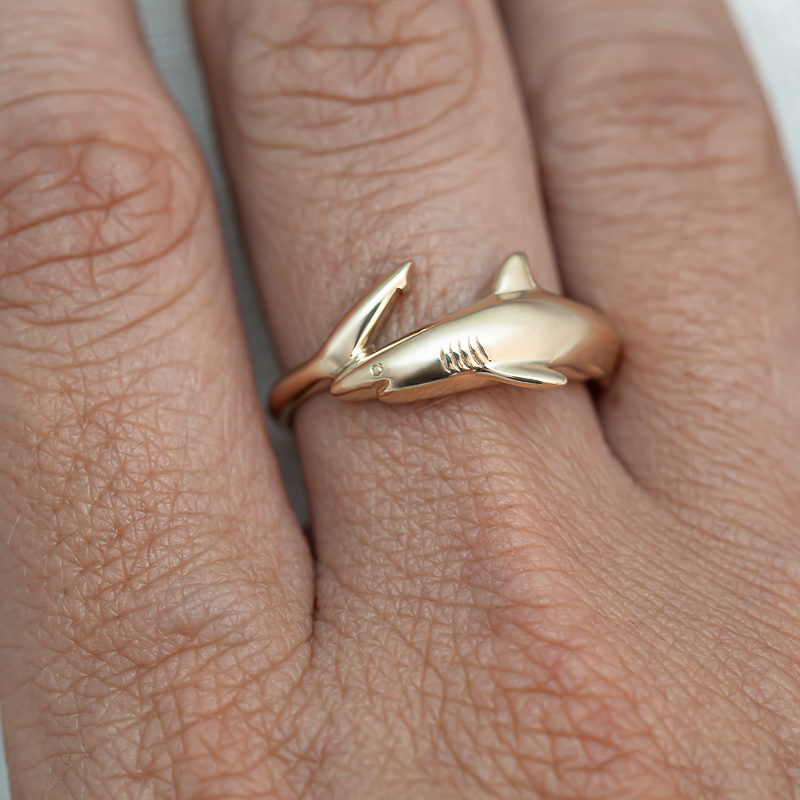 Yellow Gold Reef Shark Rings by World Treasure Designs