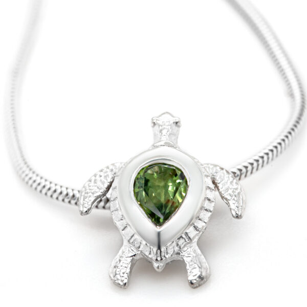 Sea Turtle Green Sapphire Necklace in Sterling Silver by World Treasure Designs