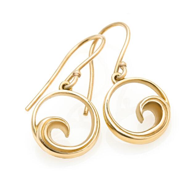Gold Wave Earrings by World Treasure Designs
