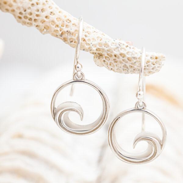 Ocean Jewellery Silver Wave Earrings by World Treasure Designs