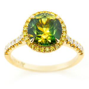 Australian Yellow-Green Parti Sapphire Ring Yellow Diamond Halo in Yellow Gold by World Treasure Designs