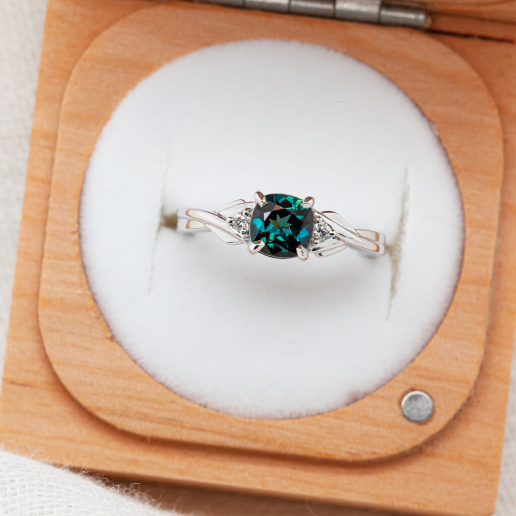 Teal Blue Australian Sapphire Ring with Diamonds in White Gold by World Treasure Designs