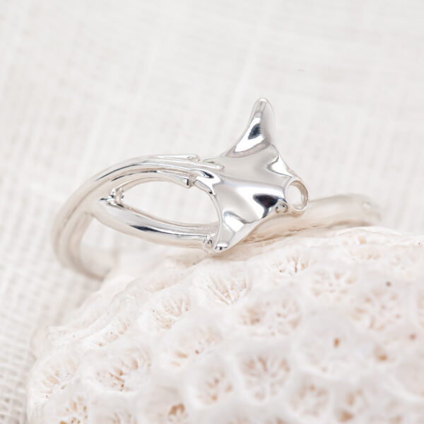 Manta Ray Ring in Sterling Silver Tiny by World Treasure Designs