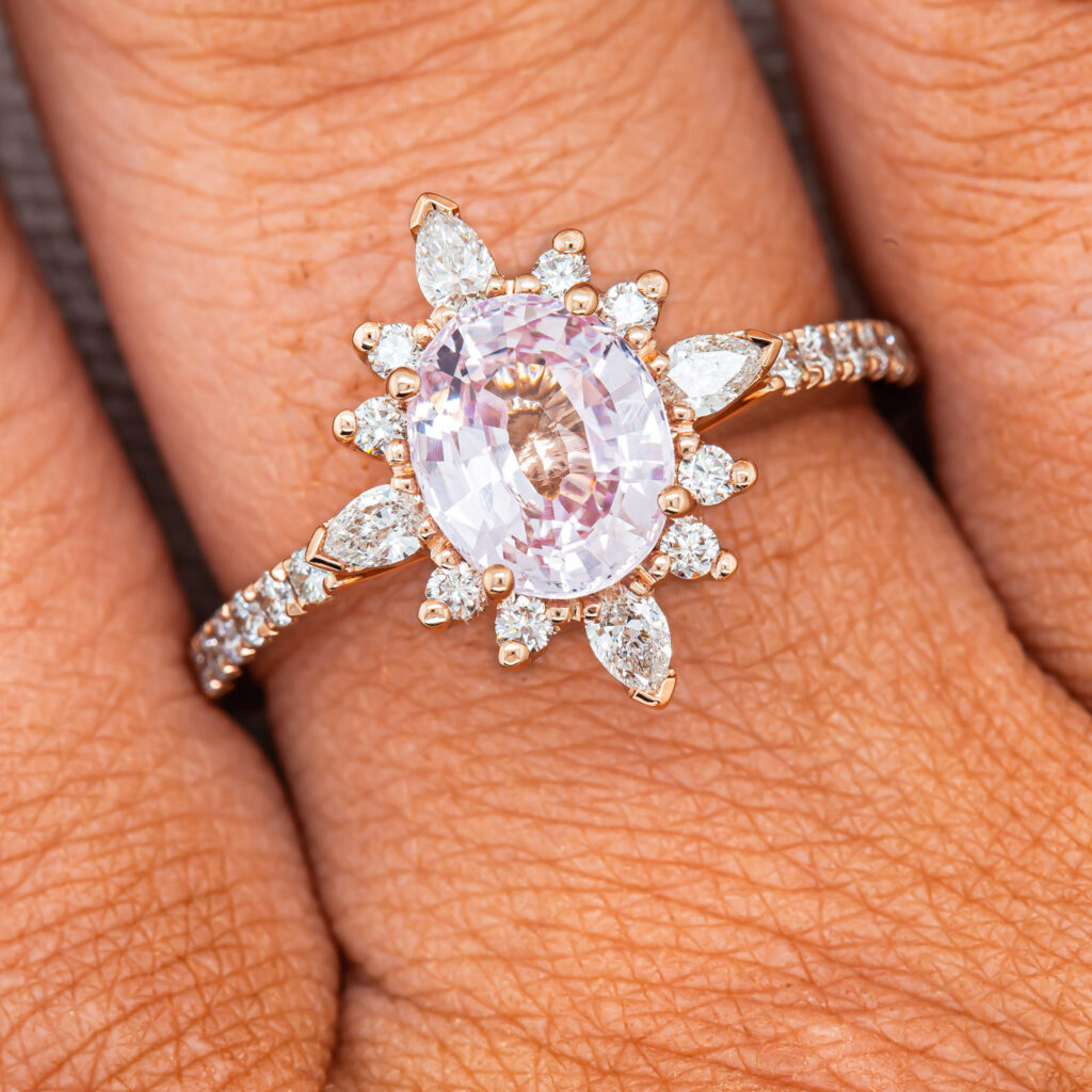 Pink Sapphire and Diamond Halo Dress Ring in Rose Gold by World Treasure Designs