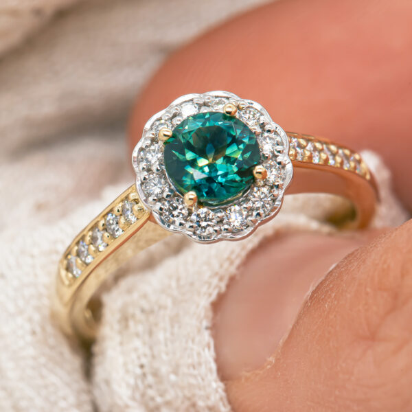 Teal Sapphire Ring in Green-Blue Parti Sapphire in Yellow Gold by World Treasure Designs